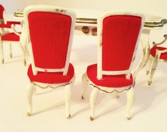 DOLLHOUSE Vintage Ideal Petite Princess Fantasy Furniture Pair of French Provincial Hostess Dining  Chairs with Original Box