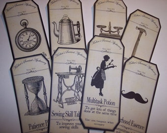 Mothers Survival Steampunk  Apothecary Labels Set of 8