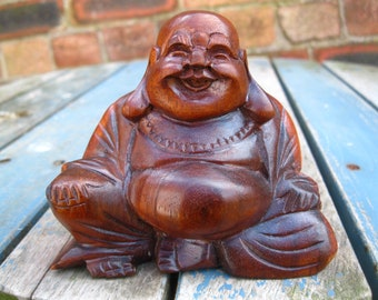 Wooden Happy BUDDHA STATUE Figure 9 cm CHINESE Laughing Sitting Hand Carved