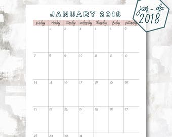 The 1 Page Calendar, Sunday Start | January - December 2018 | Happy Planner Size | Printable Planner | Printable Calendar | OG Style