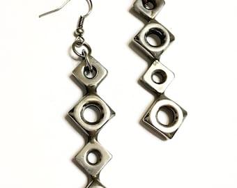 Diamond Hex Nut Earrings