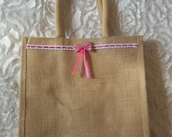 burlap tote bag Pink Ribbon with bow and lace trim