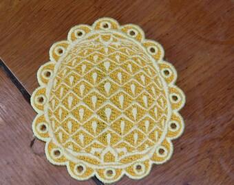 Embroidered Magnet - Easter - Easter Egg/Dark & Light Yellows