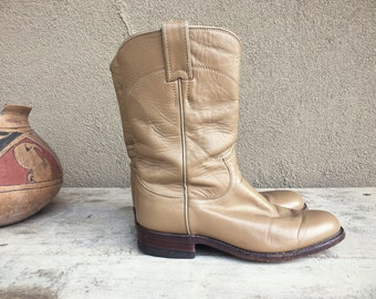 Vintage Justin Roper cowboy boot Women's Size 6 C (fits 6.5 to 7) taupe tan leather cowgirl boots