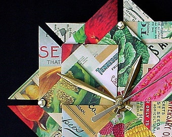 Kitchen Clock, Vintage Seed Packet Origami Clock-Large