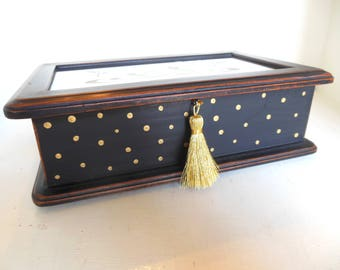 Vintage Upcycled Jewelry Box Black Gold Dots Tassel Handmade 80's (item 5)