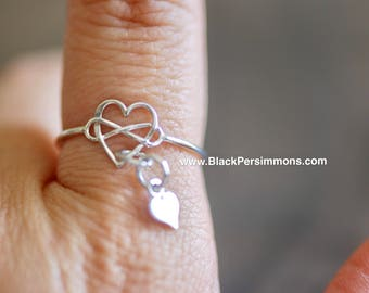 Sterling Silver Infinity Heart with a tiny Hear Charm Ring - Solid 925 Sterling Silver - Insurance Included
