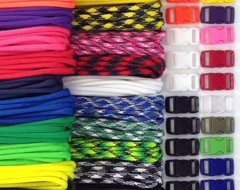 """550 Paracord Kit for Parachute Cord Bracelet ~ 200 feet total 10 feet each + 20 3/8""""  Curved Side Release Color Buckles ~ Made in USA"""