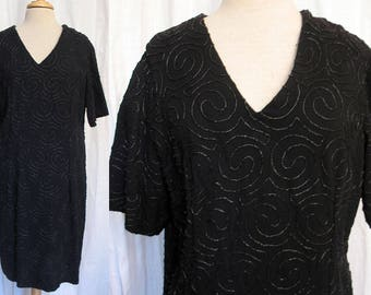 Vintage 1980s Black Crepe Beaded Dress  Size  16