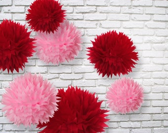 Tissue paper pom poms - set of 7 - Valentine's Day Decor//Weddings//Parties Decor//Nursery//Receptions