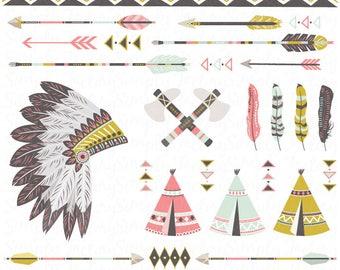 Clipart tribal pack «TRIBAL amérindien», coiffe de plumes, tipi, les tentes, plumes, flèches, aztèque, frontières, indien. Tribal007