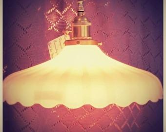 Vintage Clambroth Milkglass Fluted Pendant Light