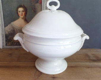 Beautiful antique FRENCH white ironstone tureen  big bowl with lid  Soupiere