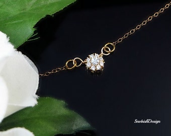 Minimalist Necklace, Gold Necklace, Delicate Necklace, Dainty Necklace, CZ Necklace, Tiny Necklace, April Birthstone, Crystal,Cubic Zirconia