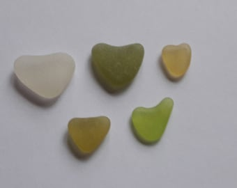 5 sea glass heart French / french sea glass