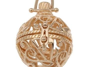 2pc gold finish metal prayer box pendant-7218
