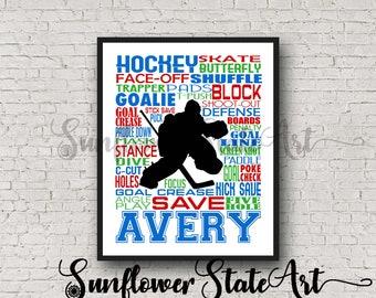Personalized Goalkeeper Ice Hockey Poster, Goalie Typography Hockey Player Gift, Hockey Team Gift, Hockey Art, Hockey Print, Hockey Wall Art