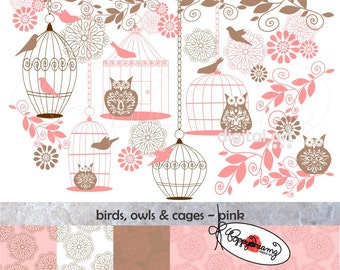 Birds Owls & Cages Pink Paper and Elements SET: Digital Scrapbook Paper Pack (300 dpi) Wedding Baby Shower Floral Brown Pink