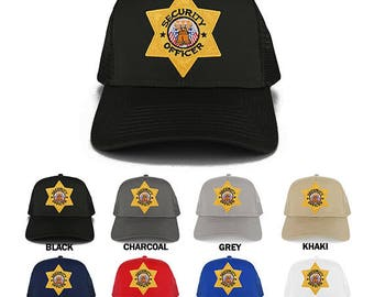 Security Officer Gold Star Badge Embroidered Iron on Patch Adjustable Trucker Mesh Cap (30-287-PM4088)