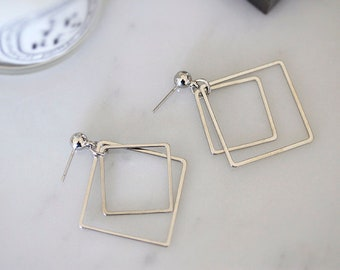 Minimalist Square Earrings- Symmetrical- IN SILVER/GOLD tone