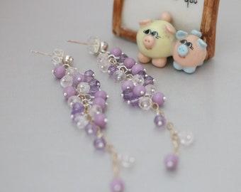 Phosphosiderite, Pink Amethyst & Rose Quartz Two-tone Long Cluster Earrings, Summer Earrings, Purple Pink Multi Stone Cluster Earrings