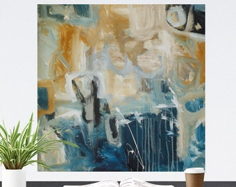 large abstract painting on canvas, blue, original painting, cream, Wall Art
