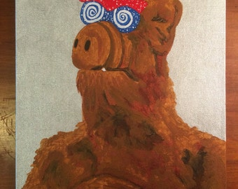 Nice Underwear! - an original painting of Alf, our beloved 80s tv alien