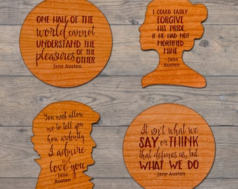 Jane Austen Wood Coasters