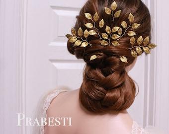 Bridal Hair Pins - Greek Goddess Beauty Gold Leaves Set - Made to Order