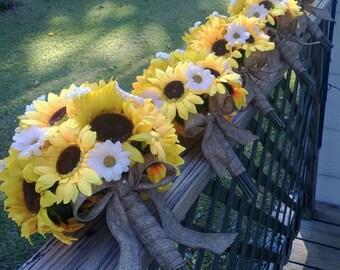 17 piece Sunflower Bouquet Yellow Sunflower Wedding Flower Set, Bridal Bouquet, Sunflower Burlap Bouquet, Daisy Bouquet, Yellow Bouquet