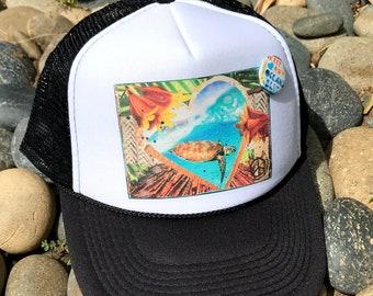 Trucker Hats, HONU LOVE, Hawaii, limited ed., Beach, Sea Turtle, Surf, Summer, Fun, One Size Fits All, foam trucker hat, Surf, Best Seller