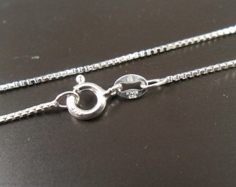 """18"""" Sterling Silver Italian Box Chain -  019 - Only 9.35- Great Price - Sturdy and Classic 2.7 gram weight"""