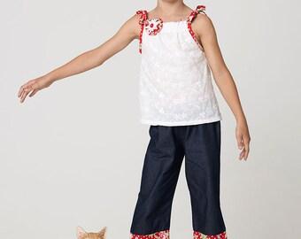 girls pants pattern pdf, pants sewing pattern, capri pattern, RUBY CAPRI