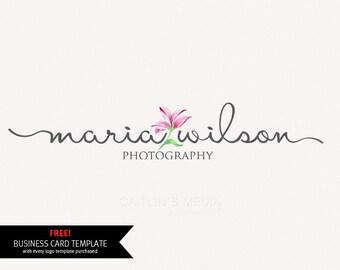 Photography logo design - Watercolor logo - premade logo - lily logo - DIY psd logo script font included