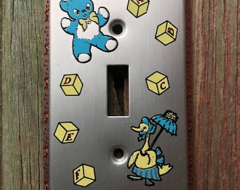 Nursery Room Teddy Bear & Mother Goose Metal Wall Light Switch Cover Plate