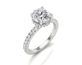 Round Moissanite Diamond Halo Engagement Ring - Forever One Moissanite Halo Ring - Charles & Colvard 8mm 2 Carat Moissanite Diamond Ring
