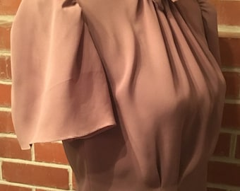 Vintage fitted cocoa brown secretary blouse
