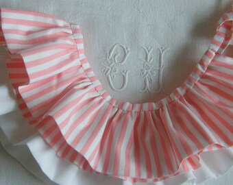 Collar ruffle detachable pierrot woman striped grapefruit/white to choose (LIBERTY or cotton)