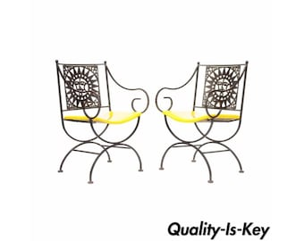 Pair Vintage Arthur Umanoff Mayan Wrought Iron Sun Directoire Arm Chairs b