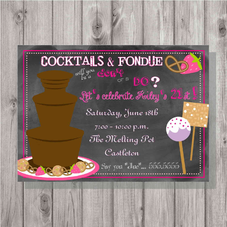 Digital Chalkboard Style Fondue Birthday Party Invitation DIY