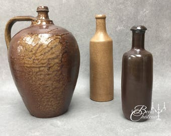 FREE SHIPPING Three Primitive French Stoneware Bottles.  Dark Brown Earthenware Unglazed Natural Colours.
