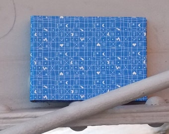 Blue-White children's photo album, Fabric-based photo album, photo album, Personalizable, photo album with black pages, blue chicken pattern