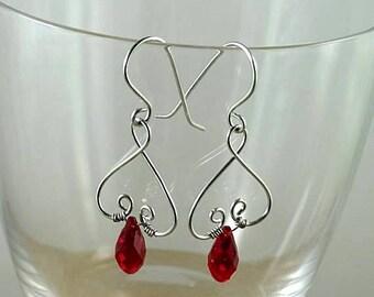 Valentine Garnet Swarovski Crystal Renaissance Earrings - Wire Wrapped