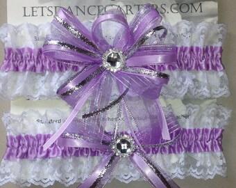 Lavender Purple Bridal Wedding Garter Set  a Keepsake n Toss Garters