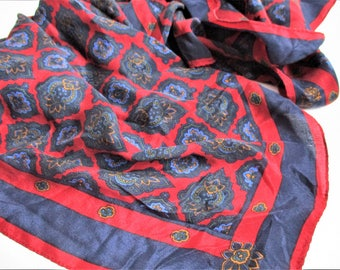 """Carroll Reed Scarf Silk Scarf Paisley Scarf Red Navy Blue Vintage Carroll Reed Ski Shop Designer Signed Scarf Large 30"""" x 30"""" Square Scarf"""