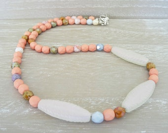 Czech Glass Necklace, Salmon Pink Necklace, Pink Necklace, Faceted Bead Necklace, Ladies Necklace, Czech Glass Beads.