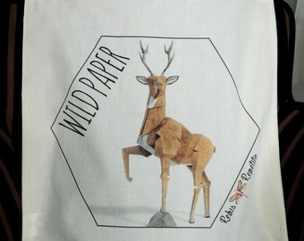 Tote bag, organic cotton bag, deer Wild Paper Origami