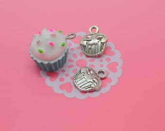 3 resin and silver cupcake charms