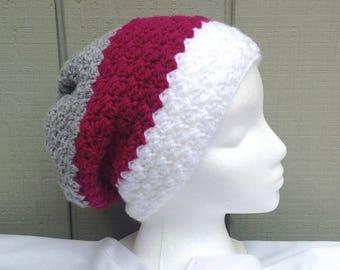 Slouchy crochet hat - Womens slouchy beanie - Crochet beanie - Striped slouchy hat - Womens hats