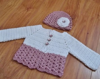 Button Me Up Baby Sweater and Hat Crochet patterns. Instant Download